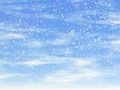 Snowfall on a blue sky backgrounds — Stock Photo
