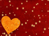 Big heart on red background with stars — Stock Photo