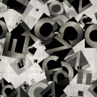 Stock Photo: Heap of abstract chaotic alphabet letters