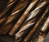 Used solid drill bits. work tool backgrounds — Stock Photo