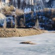 Frozen lake in a mountains land — ストック写真