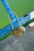 Engraving hearts of padlock. Wedding tradition — Stock Photo
