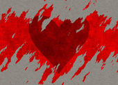 Big textured red tear heart drawing on paper — Stock Photo