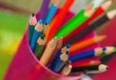 Many coloured pencils standing in a box — Stock Photo