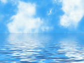 Clouds skyline in a blur water foregrounds — Stock Photo