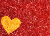 Big painted heart on red textured background. Valentine's day sy — Stock Photo