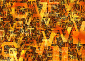 Heap of abstract chaotic orange alphabet letters — Stock Photo