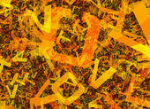 Many abstract chaotic orange alphabet letters — Stock Photo