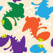 Seamless dinosaurs cute — Stock Vector