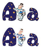 Letter A astronaut — Stock Vector
