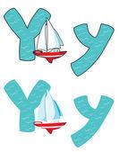 Letter Y yacht — Stok Vektör