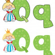 Letter Q queen — Stock Vector