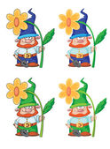 Gnome and flower — Stock Vector