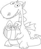 Ilustracja smoka i prezent opisane — Wektor stockowy