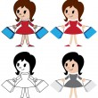 Figurines of women with packets — Stock Vector