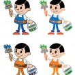 Figures of house painter — Stock Vector
