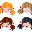 Set of head funny girl — Stock Vector