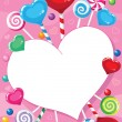 Illustration of a valentines card with candy — Vector de stock