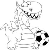 Illustrazione di un drago e sfera delineato — Vettoriale Stock