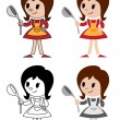Figurines of housewife — Stock Vector