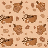 Seamless coffee and cupcakes — Stock Vector