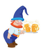 Dwarf and a tray with a beer — Stock Vector