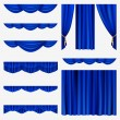 Blue curtains - Stock Vector