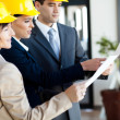 Group of construction managers looking at blue print — Stock Photo #12287865