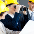 Construction manager viewing construction site — Stock Photo