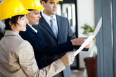 Group of construction managers looking at blue print — Stock Photo