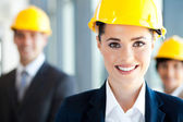 Pretty and smart construction businesswoman closeup — Stock Photo