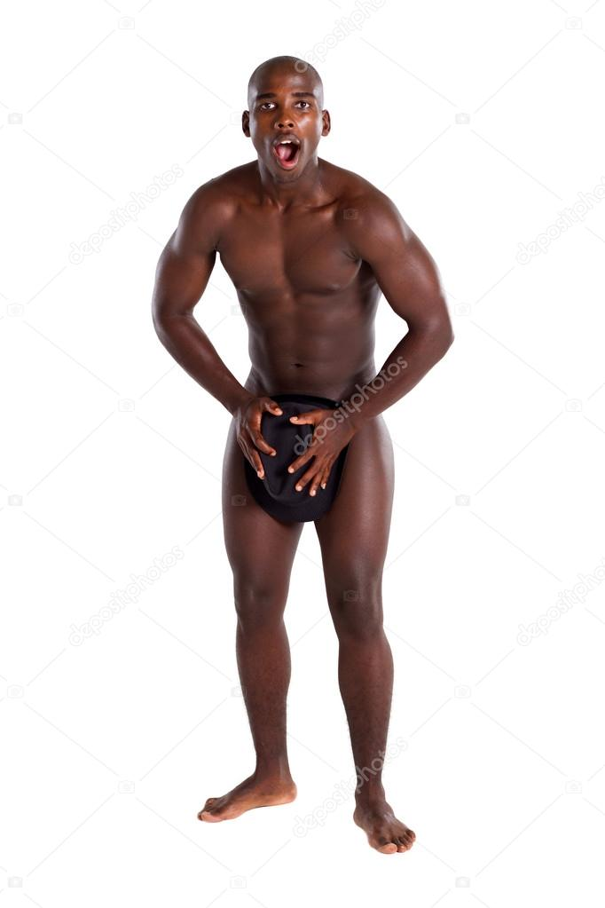 Surprised african american naked man using hat cover his private part — Stock Photo #12391622