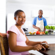 Young african american wife relaxing at home — Stock Photo