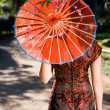 Stock Photo: Traditional chinese beauty with umbrella