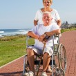 Stock Photo: Happy senior wife push husband on wheelchair
