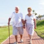 Happy senior couple walking — Stock Photo