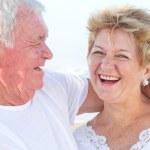 Laughing senior couple closeup — Stock Photo