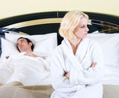 Couple having a fight in the bedroom — Stock Photo