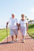 Happy senior couple walking — Stock Photo