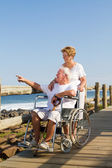 Loving senior couple on beach — Stock Photo