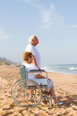 Romantische senior koppel op strand — Stok fotoğraf