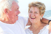 Laughing senior couple closeup — Stock Photo