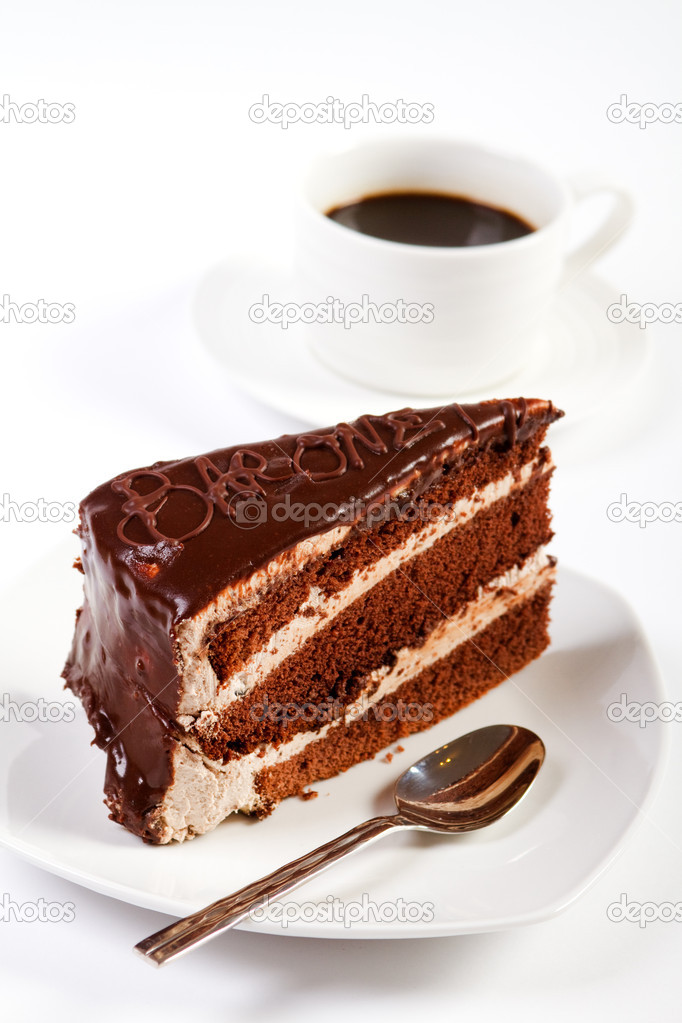 Chocolate cake and coffee on white — Stock Photo #12527923