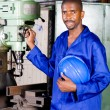 African american industrial blue collar worker in workshop — Stock Photo #14754143