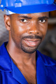 Male african american blue collar worker closeup portrait — Stock Photo