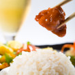 Chinese food - rice and sweet sour pork — Stock Photo