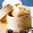 Chinese spring roll and spices - Stock Photo
