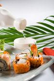 Japanese sushi rolls — Stock Photo