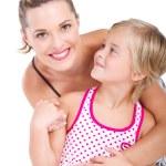 Happy matka a dcera izolovaných na bílém — Stock fotografie