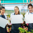 Group of funny nursery workers with white board in greenhouse - Stock Photo